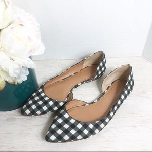 J. Crew Gingham pointed Flats Size 10